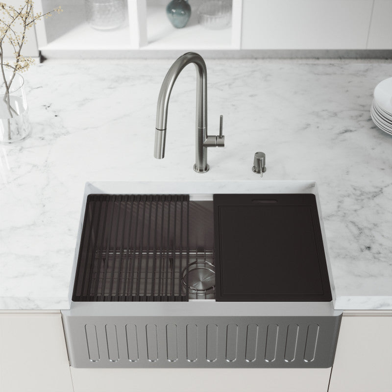 "VIGO Oxford Slotted Apron Front Stainless Steel Farmhouse Kitchen Sink with Accessories 30""L x 21""W - LUXLLEY"