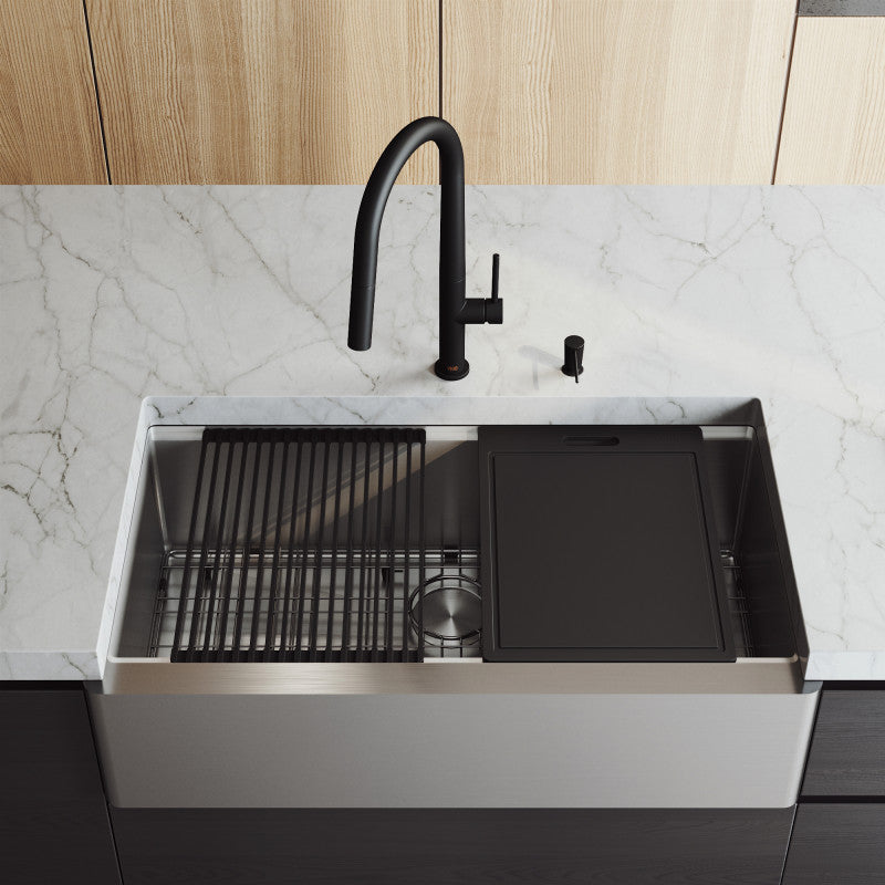"VIGO Oxford Apron Front Stainless Steel Farmhouse Kitchen Sink with Accessories 36""L x 21""W - LUXLLEY"