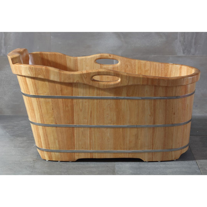 "ALFI brand 57"" Free Standing Rubber Wooden Soaking Bathtub with Headrest"