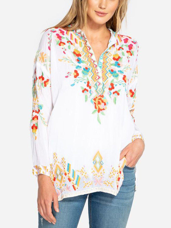 Casual 3/4 Sleeve Floral Shirts