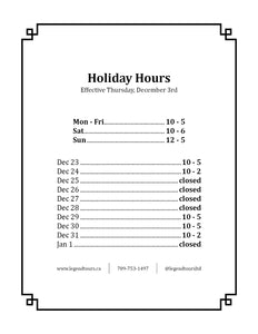 Holiday Hours Now In Effect