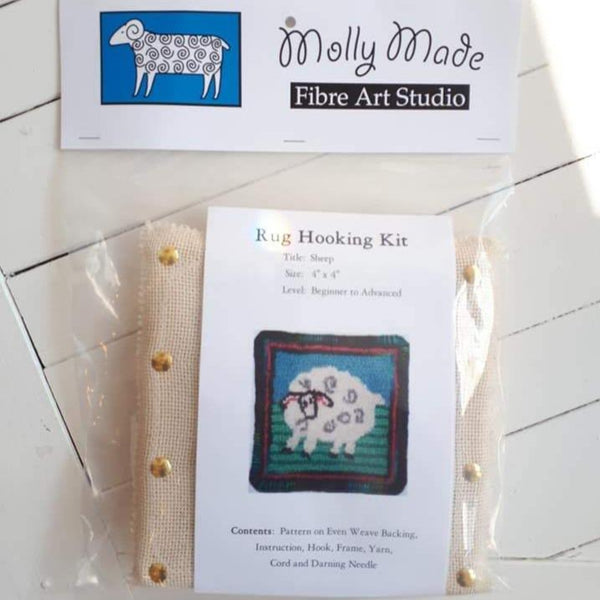 coaster size 'sheep' rug hooking kit by Molly Made.