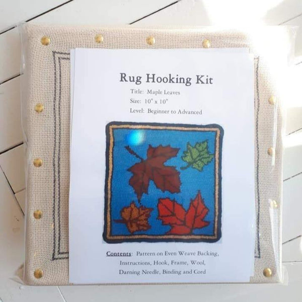 Large Molly Made rug hooking kit titled 'maple leaves'.
