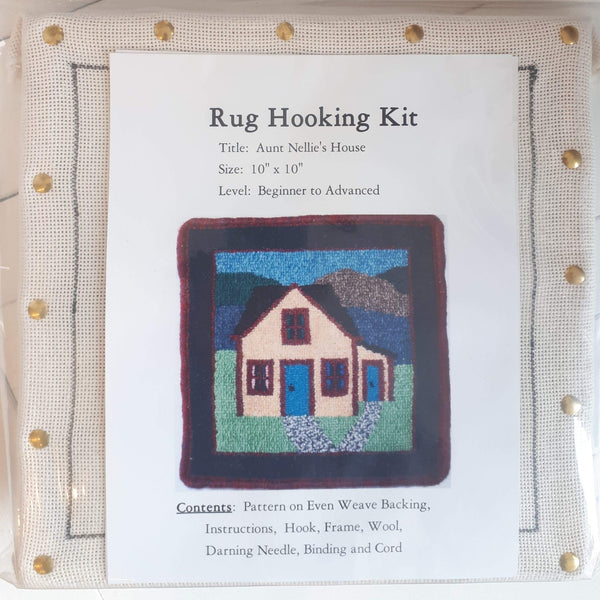 Large Molly Made rug hooking kit titled 'aunt Nellie's house'.