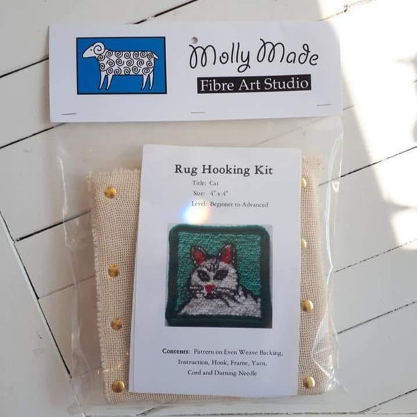 coaster size 'cat' rug hooking kit by Molly Made