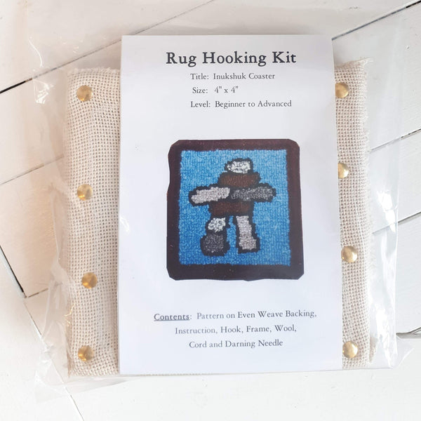 coaster size 'inukshuk' rug hooking kit by Molly Made.
