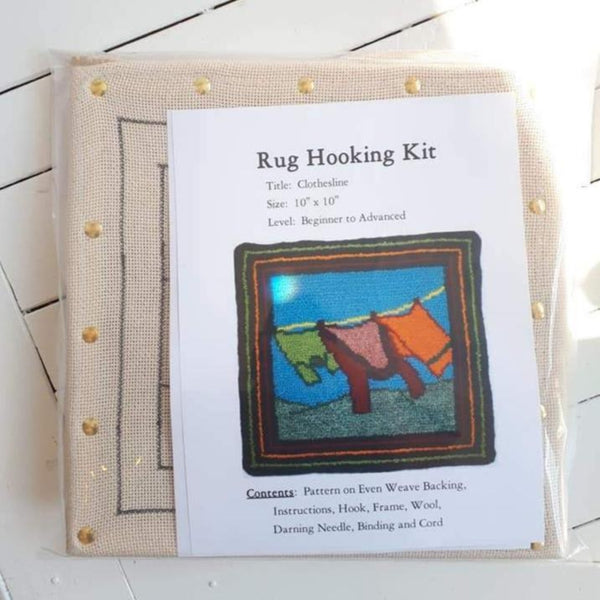 Large Molly Made rug hooking kit titled 'clothesline'.