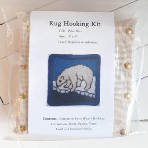 coaster size 'polar bear' rug hooking kit by Molly Made