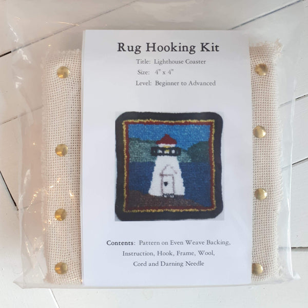 coaster size 'lighthouse' rug hooking kit by Molly Made.
