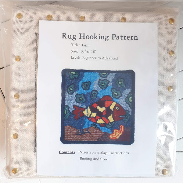 Large Molly Made rug hooking kit titled 'fish'.