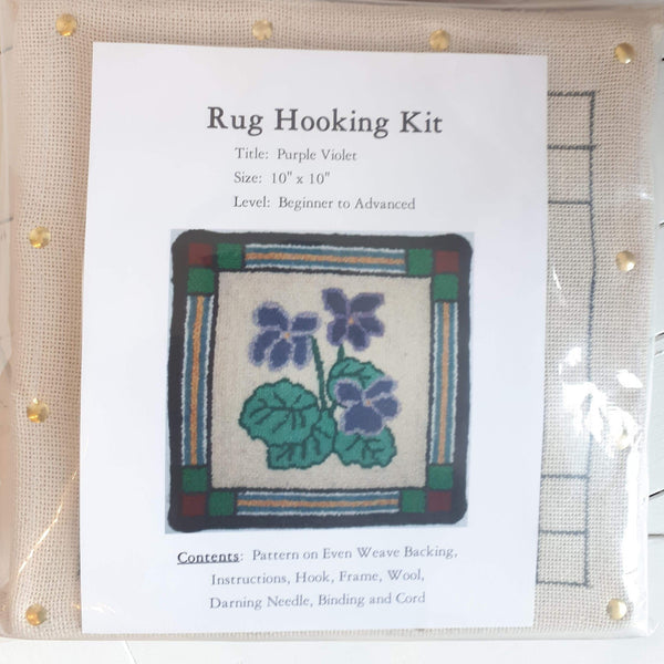 Large Molly Made rug hooking kit titled 'purple violet'.