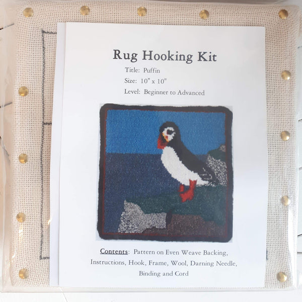 Large Molly Made rug hooking kit titled 'puffin'.