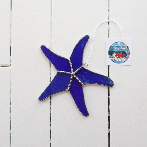 stained glass starfish made with blue glass