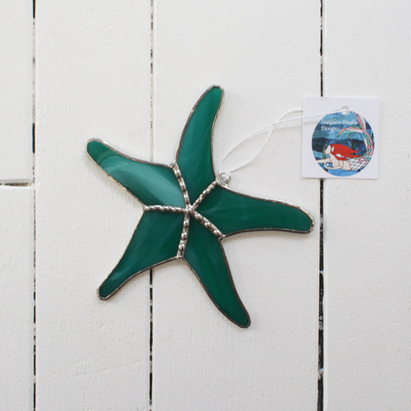 stained glass starfish made with green glass