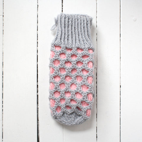 handmade mittens in pink and grey