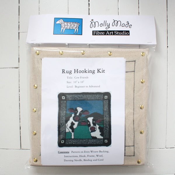 Molly Made Large Cow Friends rug hooking kit on white background