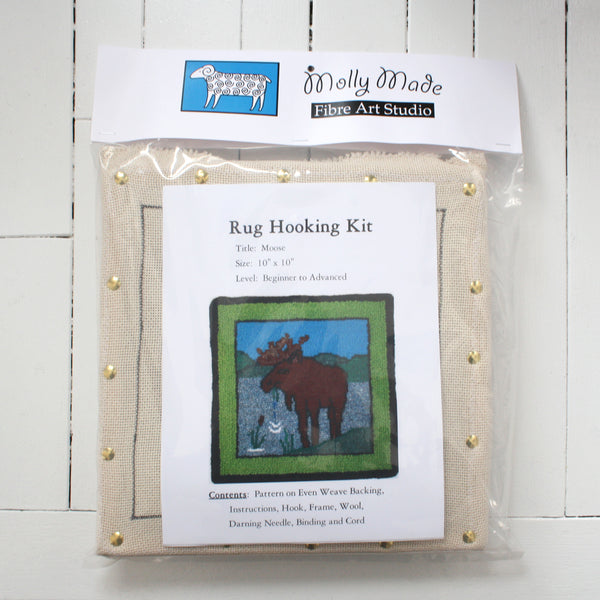 Molly Made large moose rug hooking kit on white background