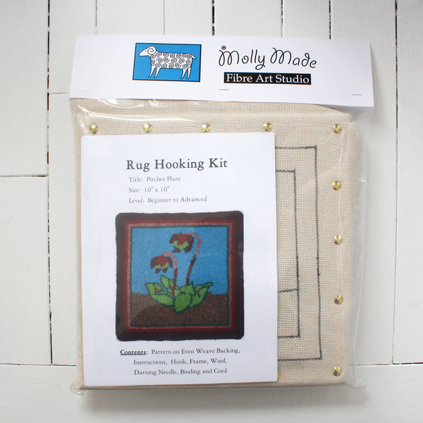 Molly Made large pitcher plant rug hooking kit on white background