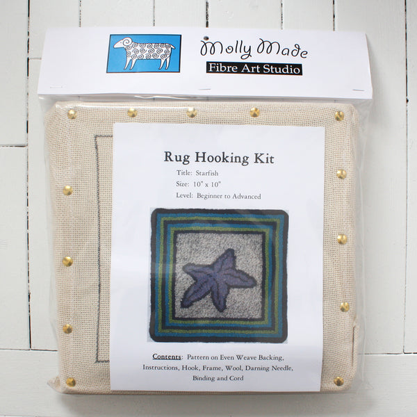 Molly Made Large Starfish rug hooking kit on white background