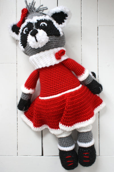 full length view of raccoon with red dress against white background