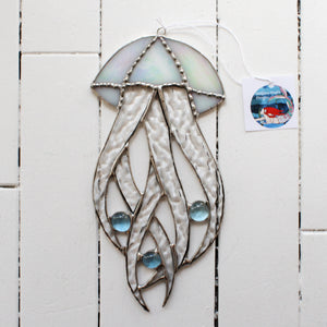 stained glass jellyfish made with several styles of glass