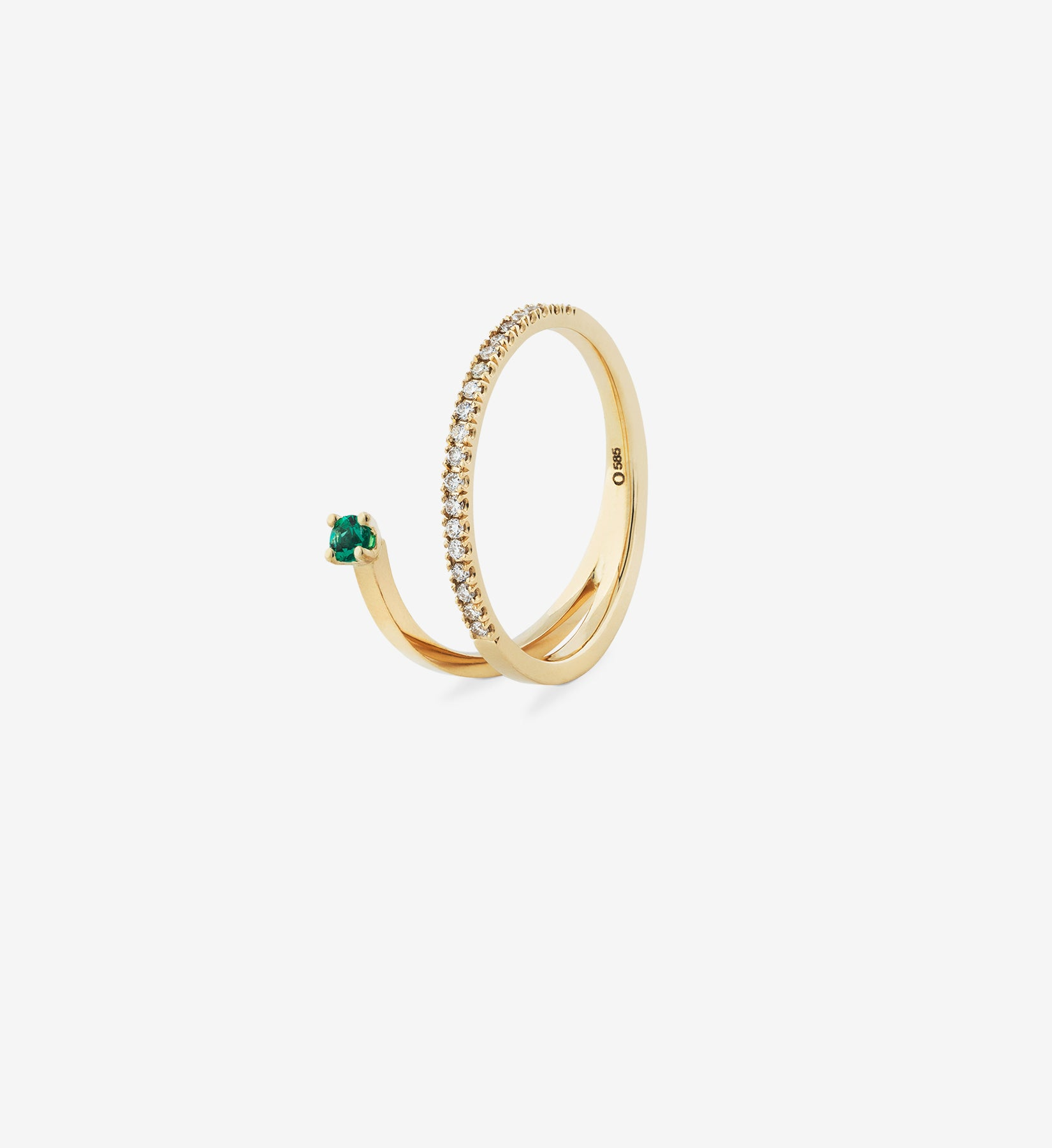 Floating Emerald Diamond Spiral Ring 0.17
