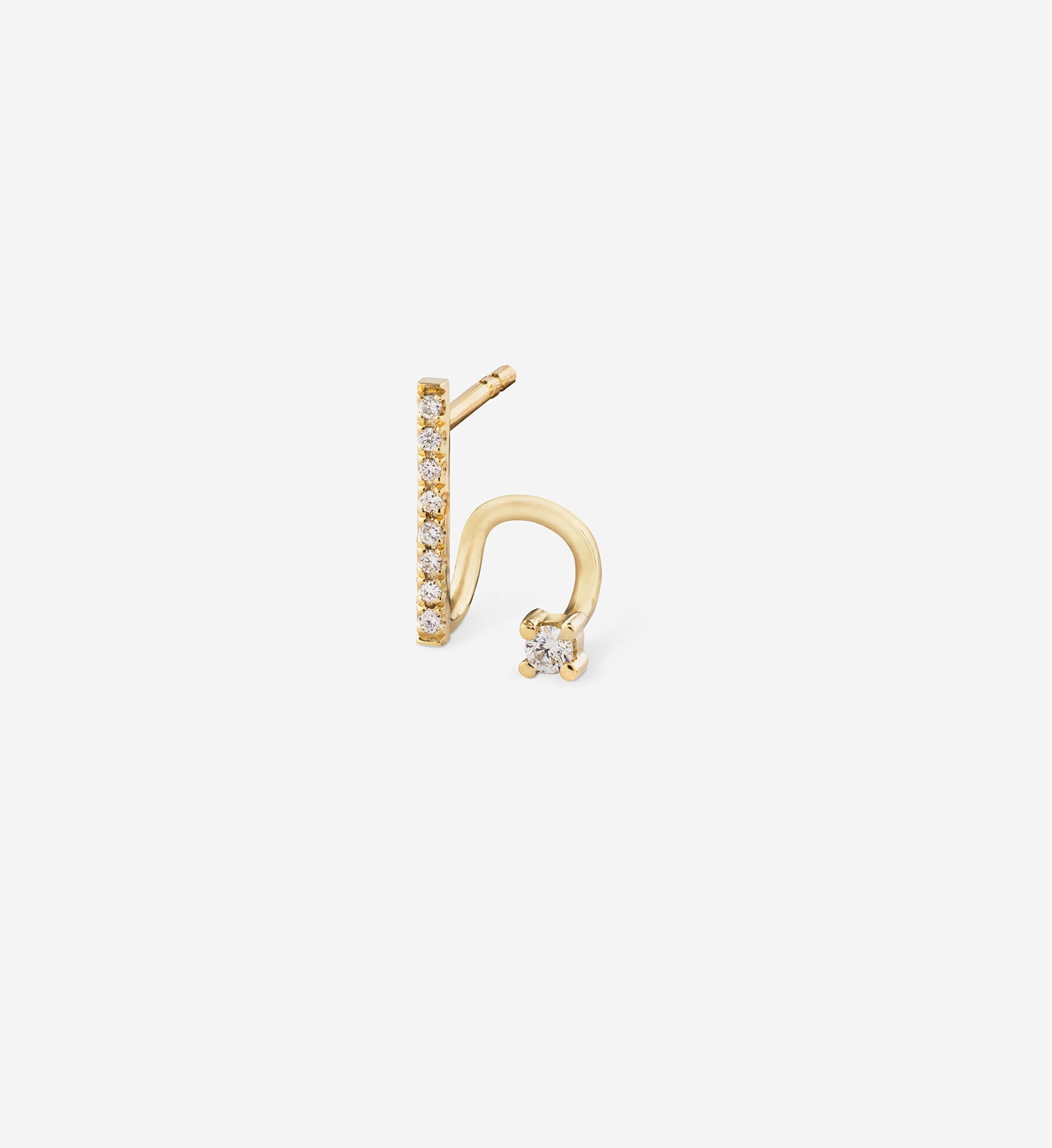 Diamond Line Spiral Earring  0.08 in 14K Gold - Single