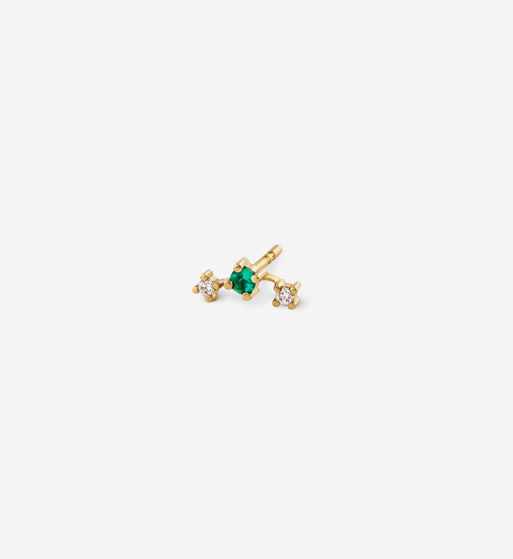 Double Diamond Emerald Stud 0.09 in 14K Gold - Single