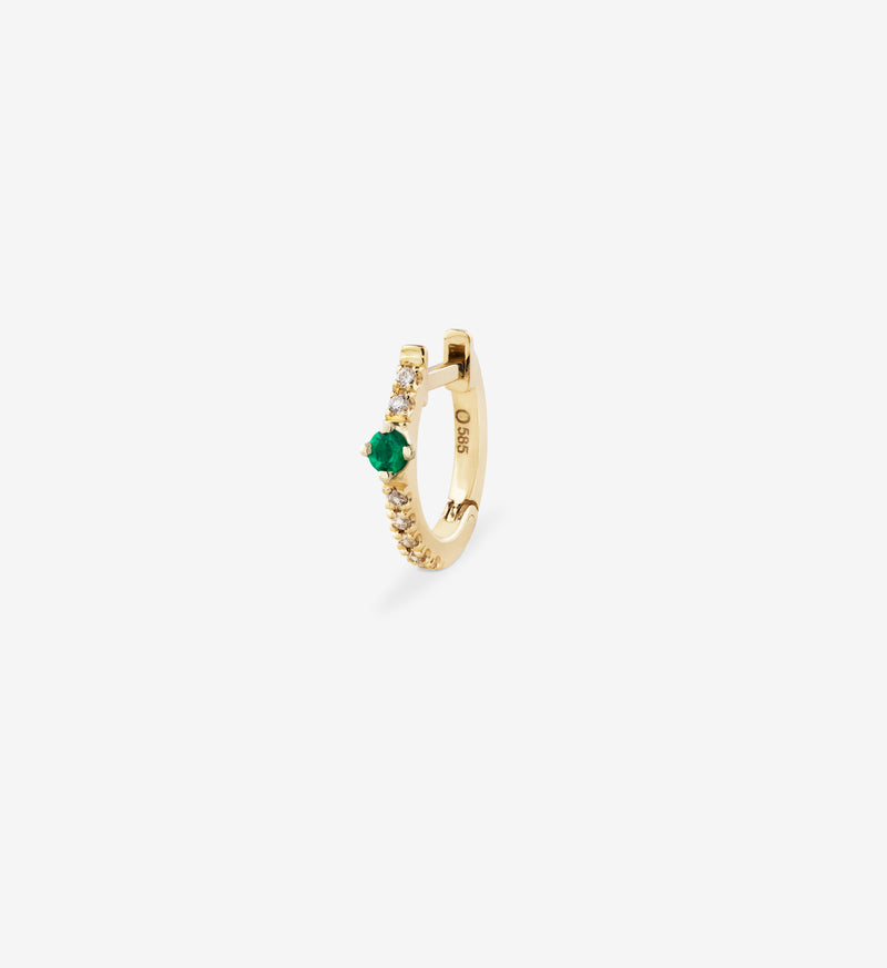 OUVERTURE, Fine jewelry, 14K gold, diamonds, golden ring, diamond ring, golden earring, diamond earring. Handcrafted jewelry. Designed in Berlin. Honestly priced. Demifine. Earparty. Stacking rings. Diamond Huggie, Huggie earring, golden huggie earring diamond line earring, emerald earring, emerald diamond huggie earring