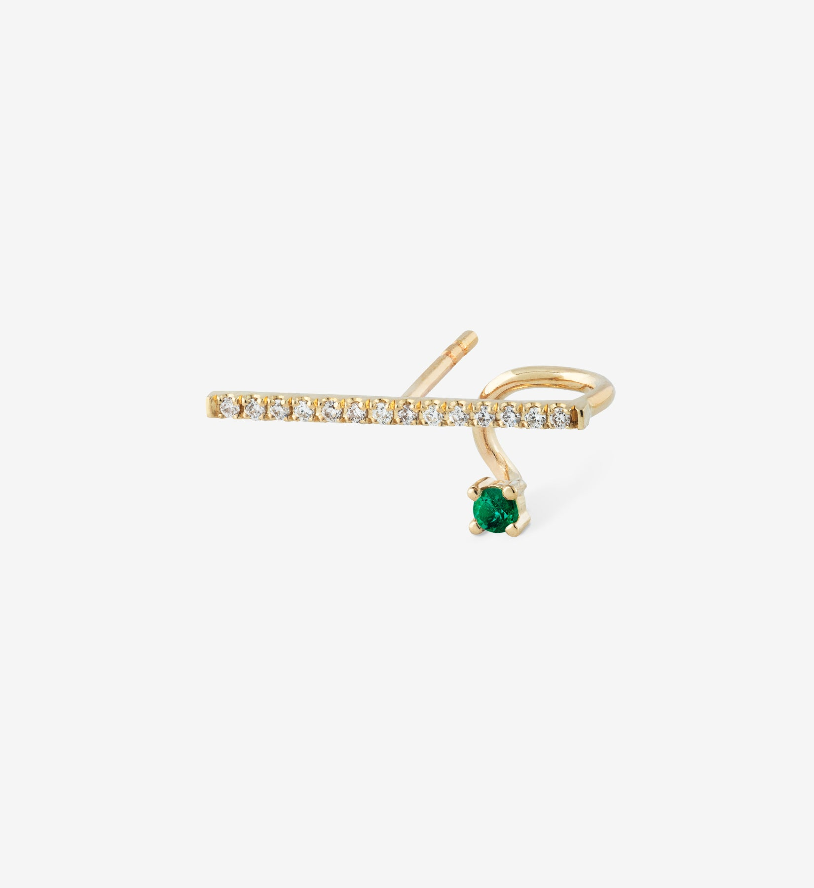 Floating Emerald Horizontal Diamond Earring  0.12 - Single
