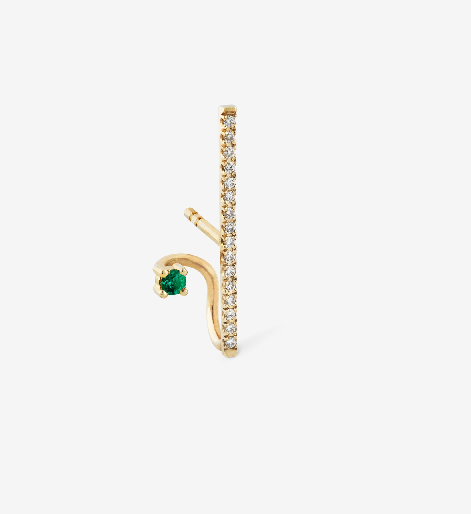 Floating Emerald Vertical Diamond Earring  0.13 - Single