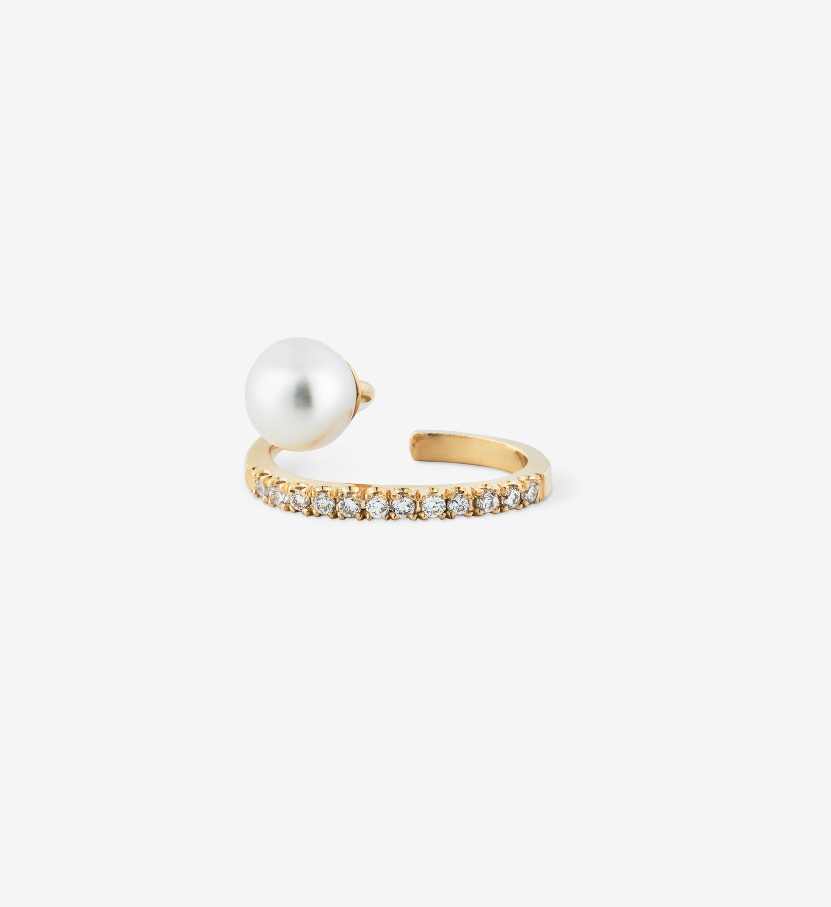 Floating Pearl Diamond Line Earcuff 05
