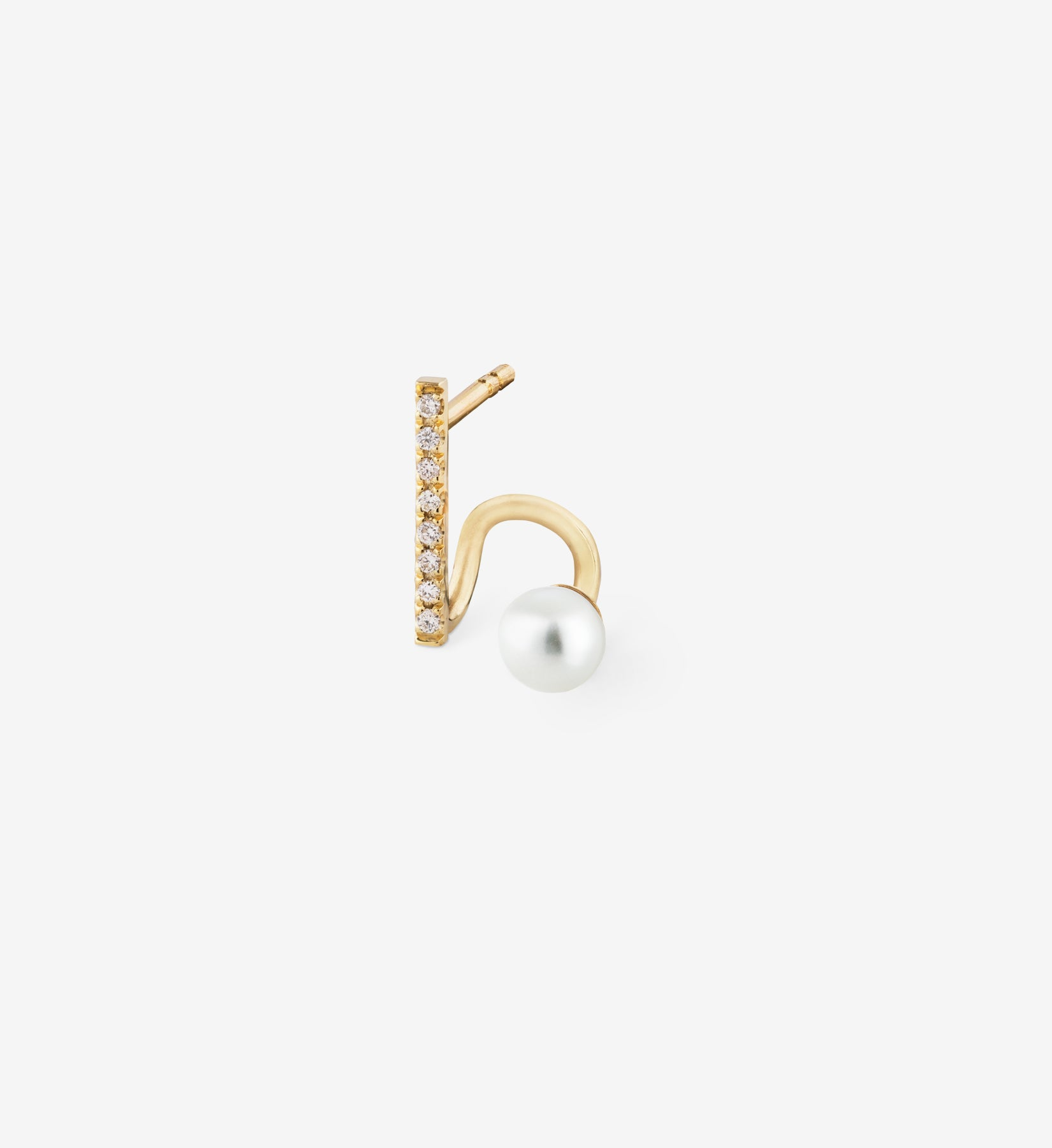 Floating Pearl Diamond Spiral Earring 05 - Single