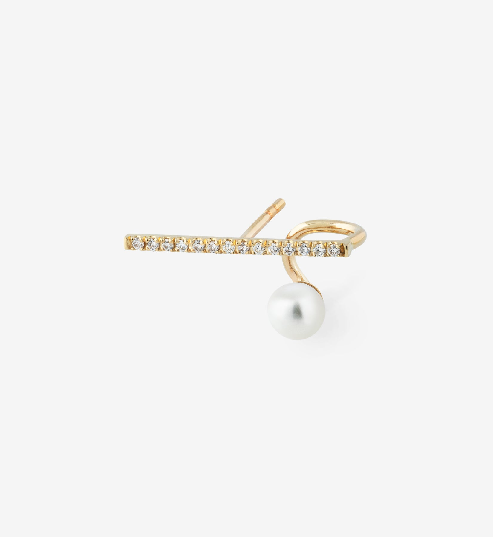 Floating Pearl Horizontal Diamond Earring 06 - Single