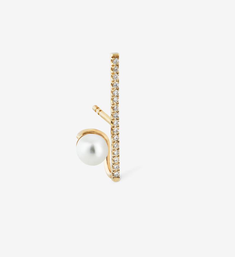 Floating Pearl Vertical Diamond Earring 06 - Single