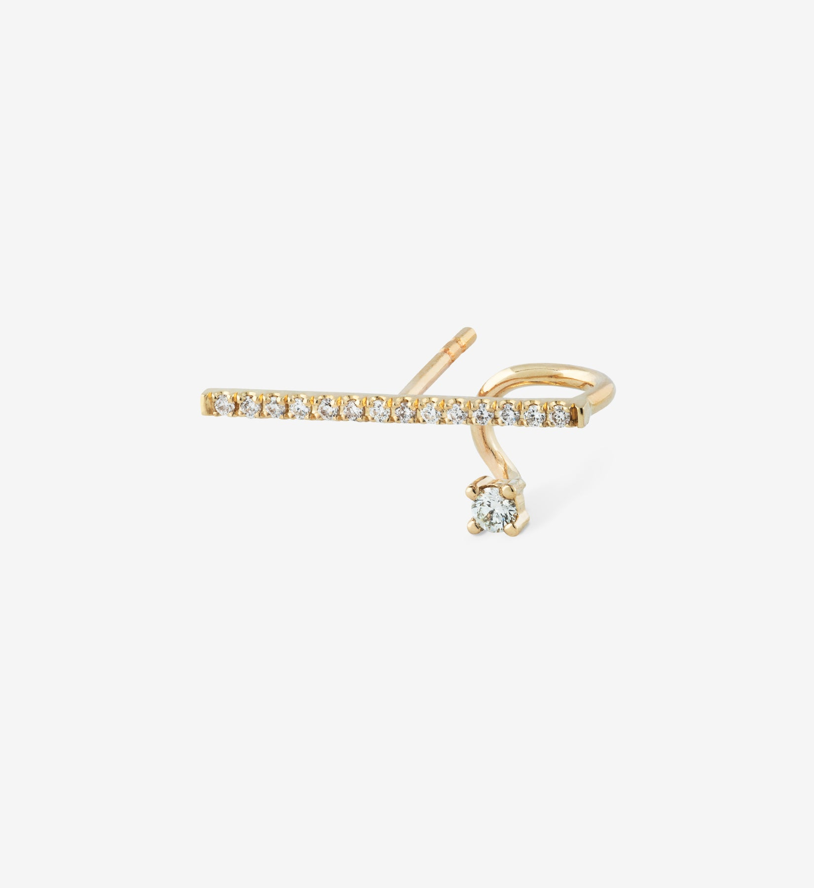 Horizontal Diamond Spiral Earring  0.12 - Single