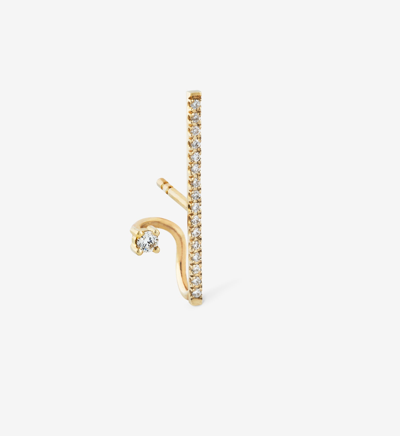 Vertical Diamond Spiral Earring  0.13 - Single
