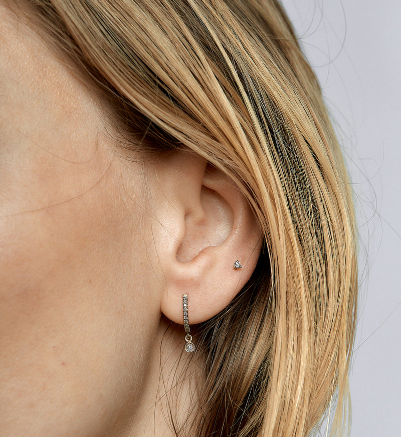 Floating Diamond Stud 0.05 in 14K Gold - Single