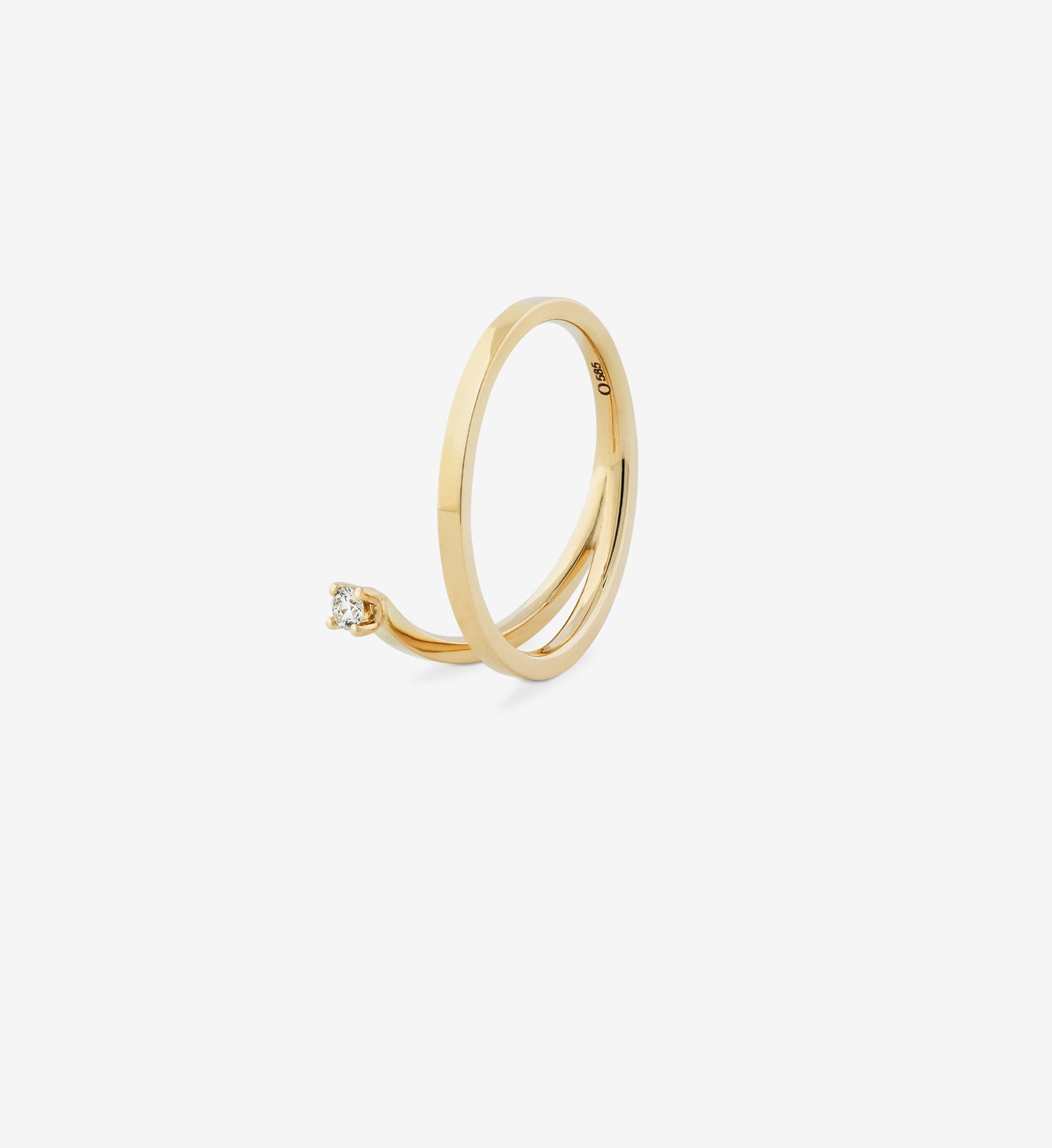OUVERTURE, Fine jewelry, 14K gold, diamonds, golden ring, diamond ring, golden earring, diamond earring. Handcrafted jewelry. Designed in Berlin. Demifine. Earparty. Stacking rings, schmuck, diamond ring, diamond spiral ring 0.05, wedding ring, engagement ring, diamond ring.