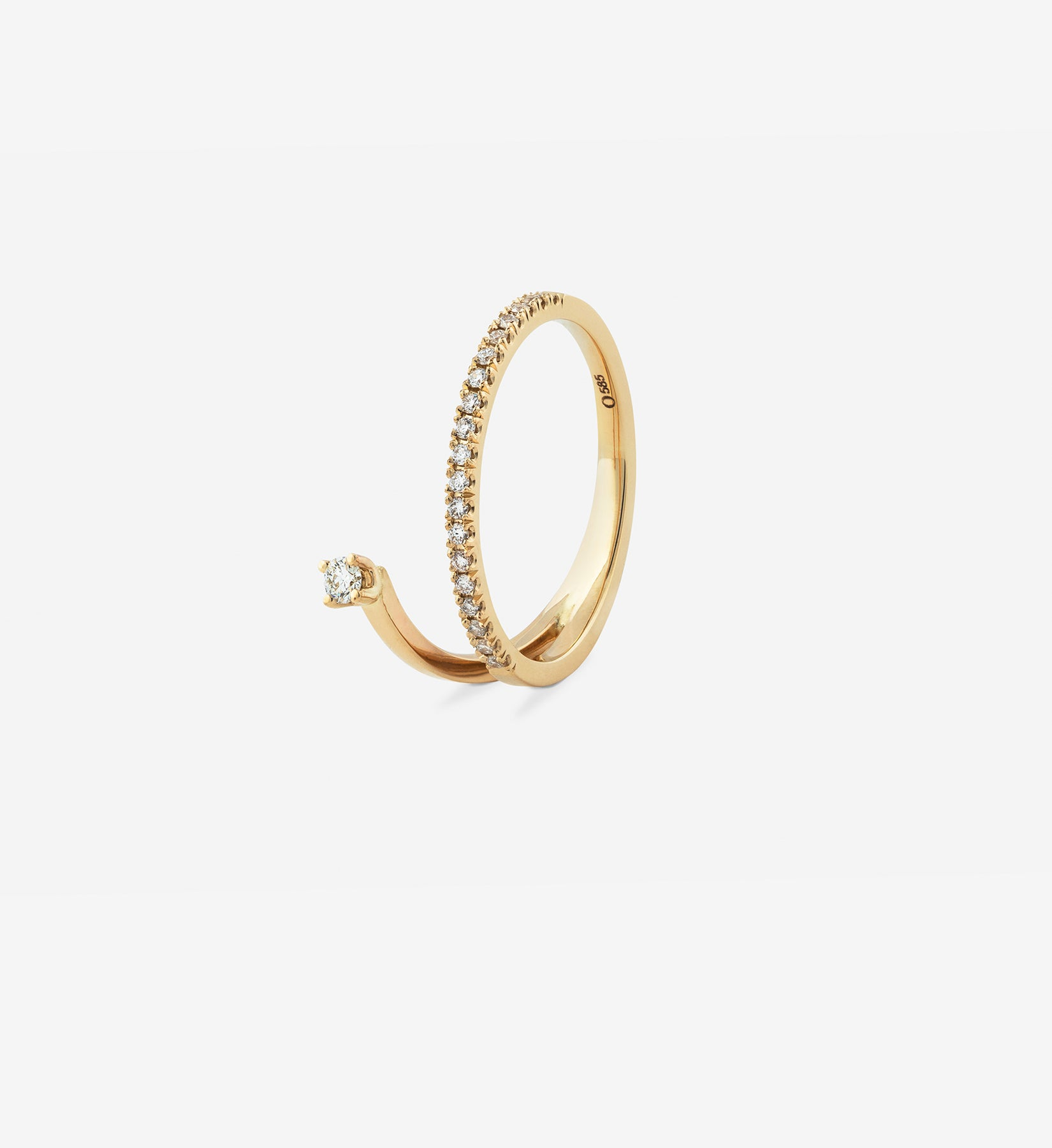 OUVERTURE, Fine jewelry, 14K gold, diamonds, golden ring, diamond ring, golden earring, diamond earring. Handcrafted jewelry. Designed in Berlin. Demifine. Earparty. Stacking rings, schmuck, diamond ring, diamond spiral ring 0.17, wedding ring, engagement ring, diamond ring.