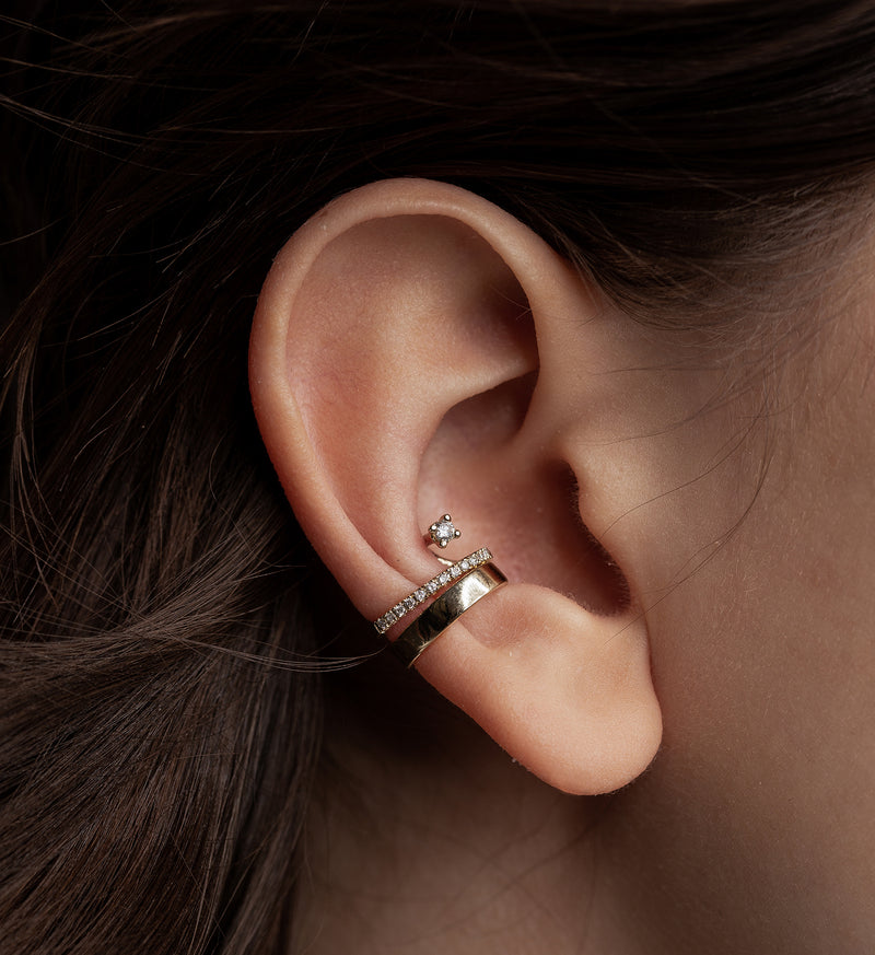 Floating Diamond Line Earcuff 0.12