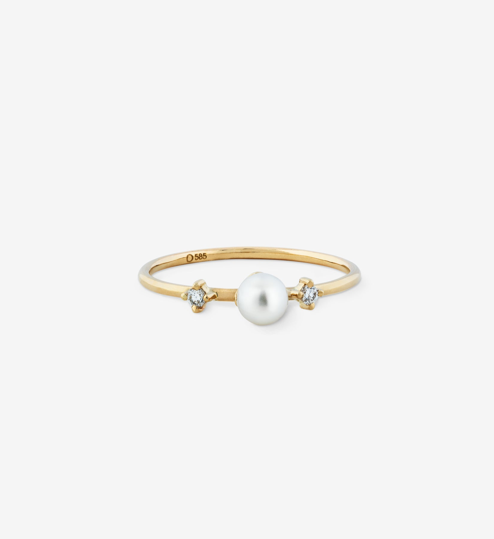 Double Diamond Pearl Ring 04