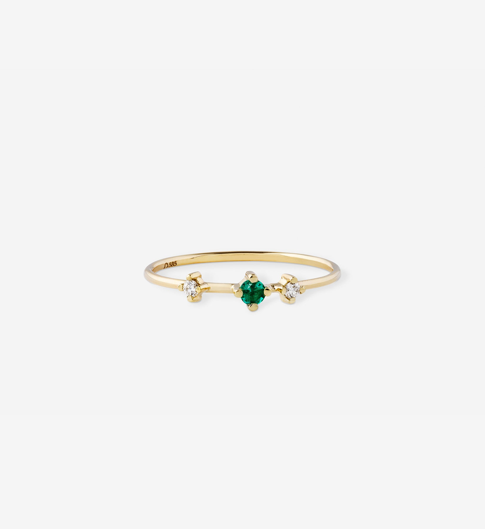 Double Diamond Emerald Ring 0.09 in 14K Gold