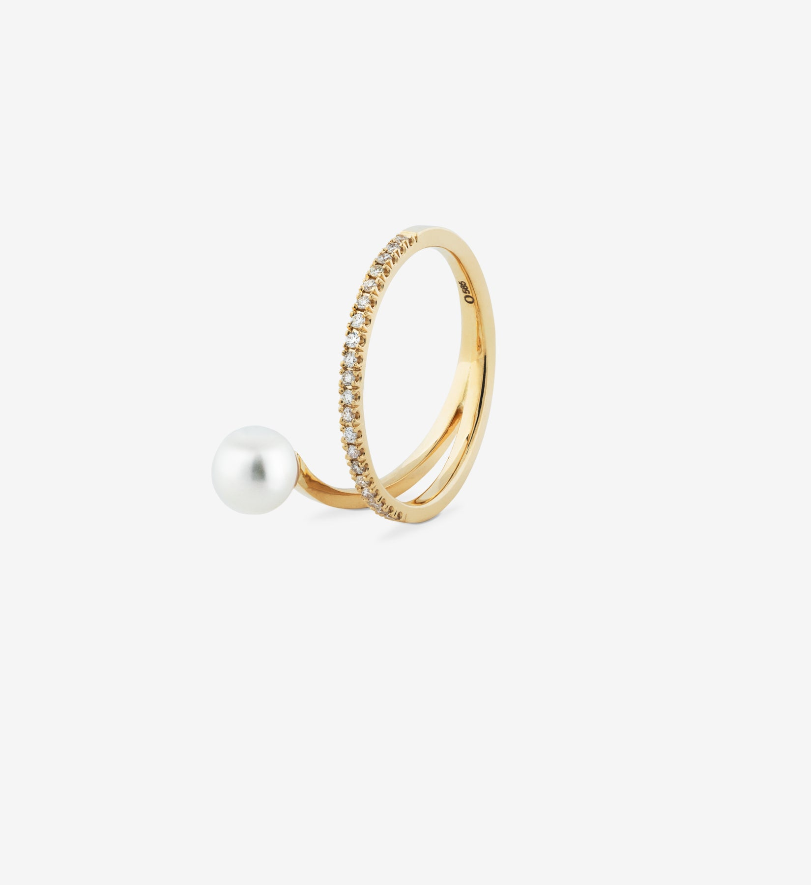 Floating Pearl Diamond Spiral Ring 06