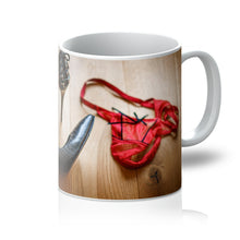 Load image into Gallery viewer, Tea or Coffee mug showing pair of red knickers abandoned on wooden floor next to pair of black high heeled ladies shoes