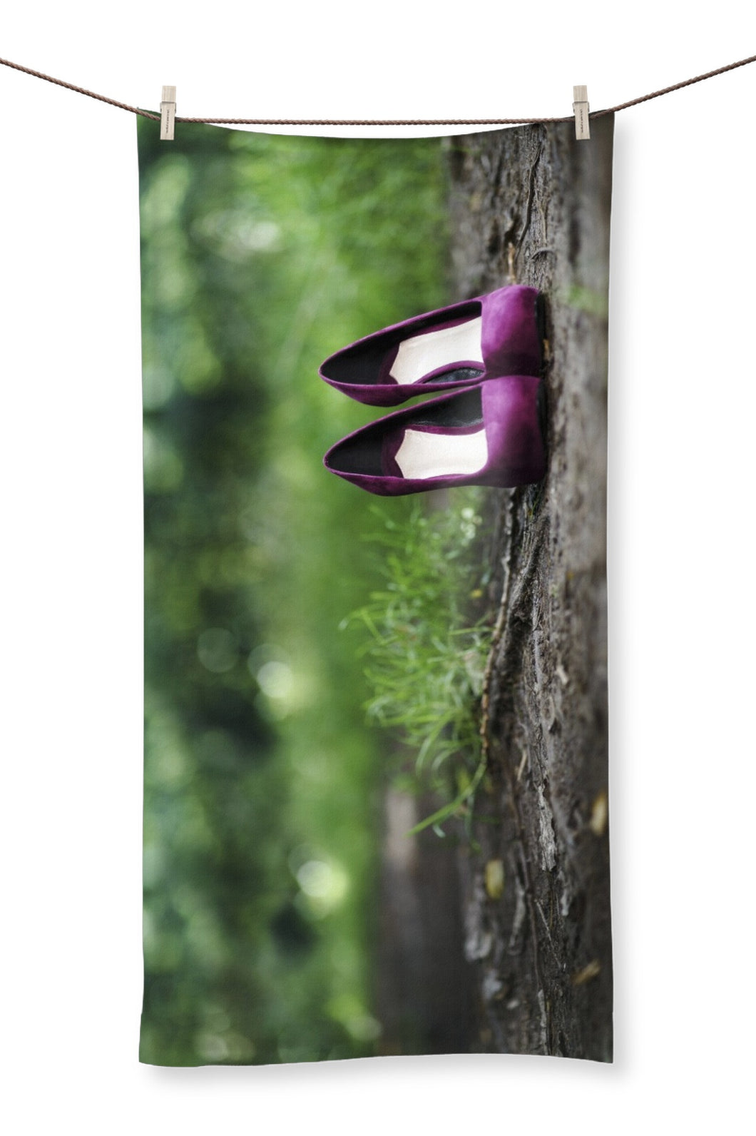 Towel mug showing a pair of purple women's high heeled shoes alone on path in the woods