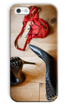 Load image into Gallery viewer, phone case showing pair of red knickers abandoned on wooden floor next to pair of black high heeled ladies shoes