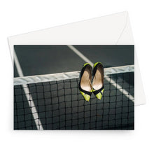 Load image into Gallery viewer, Greeting card showing Pair of women's high heeled shoes hanging over the top of a tennis net