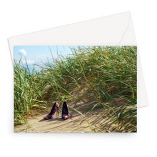 Load image into Gallery viewer, Greeting card showing a pair of colourful ladies high heeled shoes on a grassy sand dune at the beach