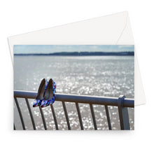 Load image into Gallery viewer, Greeting card of women's shoes on railings next to River Mersey